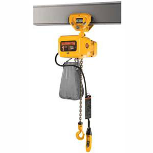 1/2 Ton, 3-Phase Electric Chain Hoist, 29 FPM Lift Speed, Push Trolley (Harringt