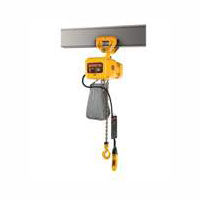 1 Ton, 1-Phase Electric Chain Hoist, 14 FPM Lift Speed, Push Trolley (Harrington